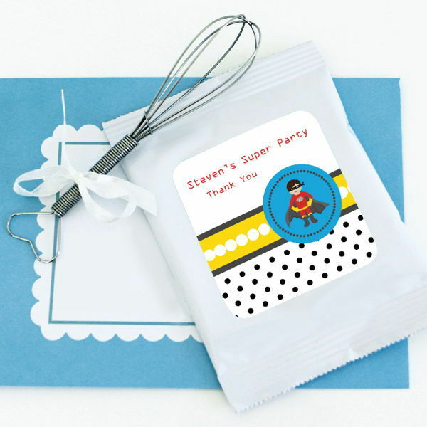 24 Personalized Super Hero Boy Hot Cocoa Mix Pouches Birthday Party Favors