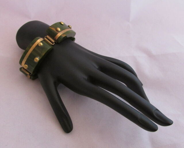 Vintage Bakelite Chunky Link Bracelet Spinach Green&Yellow Marble& Brass Accents