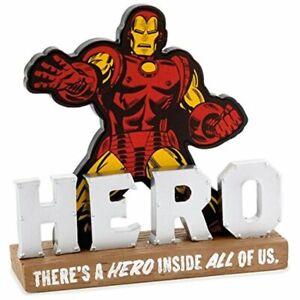 Hallmark-Iron-Man-There-039-s-Un-Heroe-Interior-Todo-De-Eeuu-Cita-Resina-Signo-Nuevo