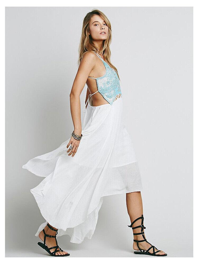 Free People Turquoise Spirit Beaded Maxi  Dress Wohombres US Talla 10  nueva marca