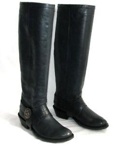 M-F-GIRBAUD-Bottes-cavalieres-biker-cuir-gris-bleu-38-TRES-BON-ETAT