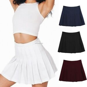 Sexy-Women-039-s-Girl-039-s-Cute-High-Waisted-Solid-Pleated-Mini-Tennis-Skater-Skirt-B20