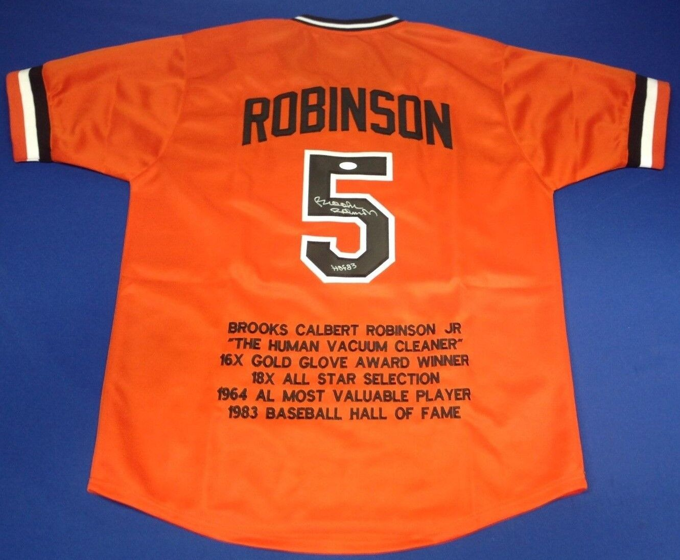 Brooks Robinson Signed Orioles Baseball Stat Jersey