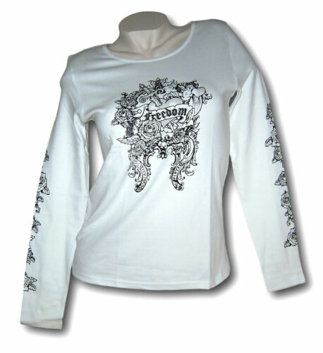 Trendiges Shirt  Langarmshirt  Longsleeve Gr 32 34 XS 36 38 S weiß mit Print neu