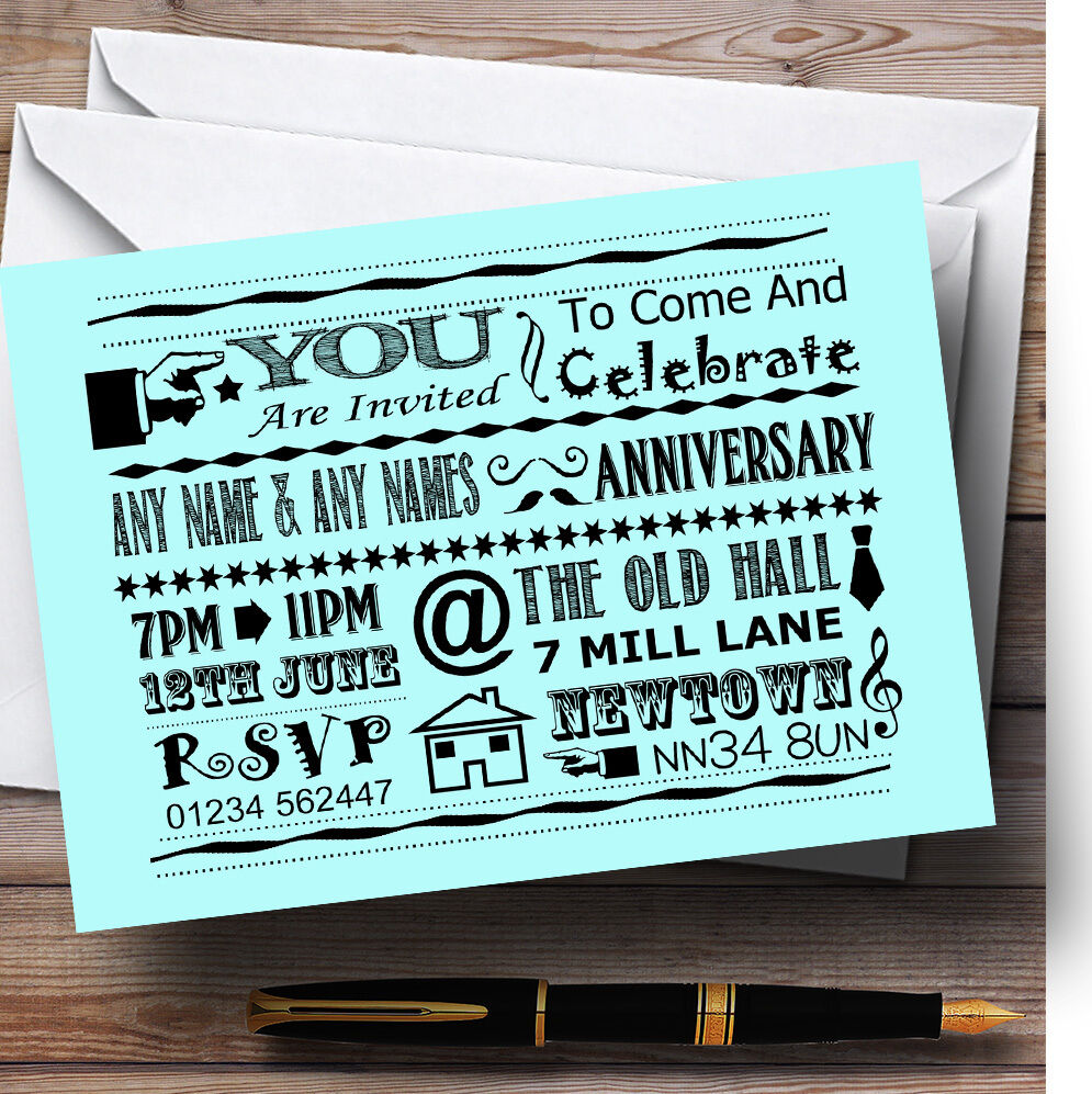 Cool Fun Chalk Typography Aqua Personalised Anniversary Party Invitations