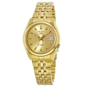 New-Seiko-5-Automatic-Gold-Tone-Stainless-Steel-Men-039-s-Watch-SNK366K1