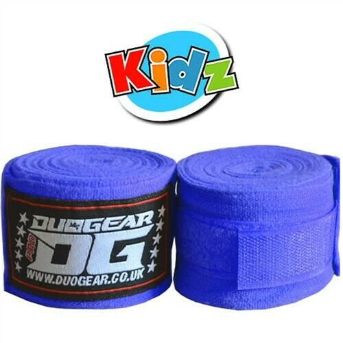 Kids Youth Junior Blue DUO Gear Boxe bagwork Sports Allenamento Hand Wraps 1.5m