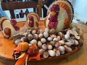Thanksgiving Salt Pepper Soup Tureen Turkey Ceramic Platter Decor Centerpieces