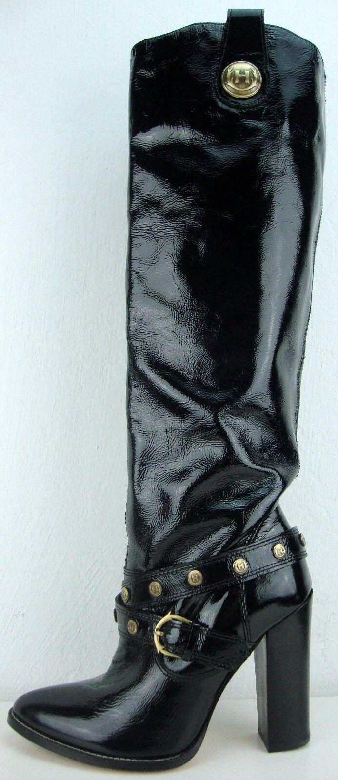 Hunter señora cuero rodilla botas altas cuero genuino charol óptica botas negro nuevo
