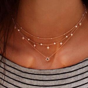 Boho-Women-Rhinestone-Multi-layer-Star-Pendant-Chain-Choker-Necklace-Party-Gift