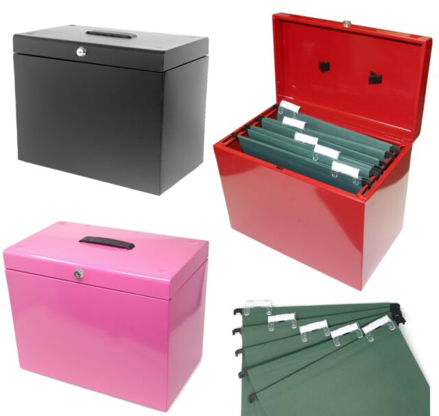 A4 Metal File Box - Document Organiser Storage - Includes 5 Suspension Files