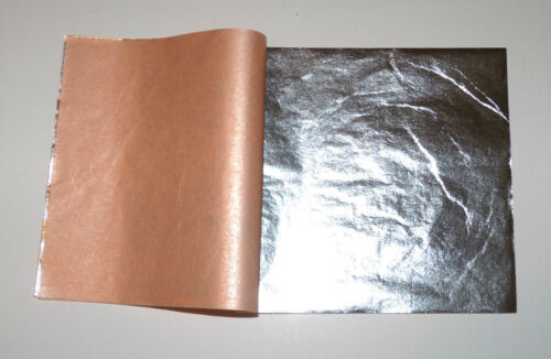 For Gilding 14  x 14 cm Art Work Composition Silver Leaf Sheets 50 Leaves