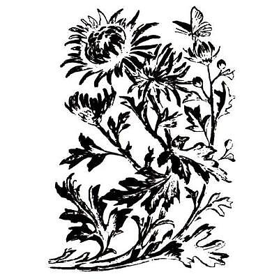 CHRYSANTHEMUM flowers unmounted rubber stamp #1