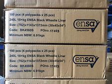 """100 x Wheelie Bin Liners Binliners Black 240L 18+kg 30x45x54"""""""