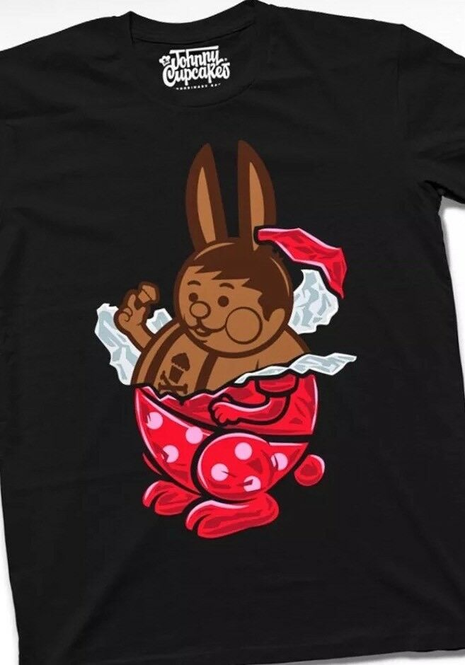 Men's New Johnny Cupcakes Chocolate Bunny Big Kid T-Shirt size Large Easter