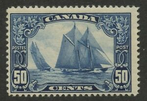 Canada-1929-KGV-Scroll-Bluenose-50c-blue-158-MNH