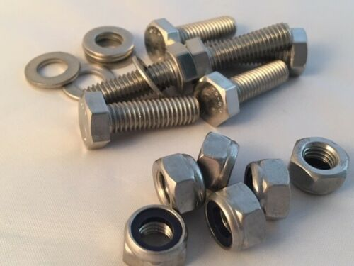 M3 A4-316 Marine Stainless Steel Bolts Nyloc Nuts and Washers Pack of 6,12 or 24
