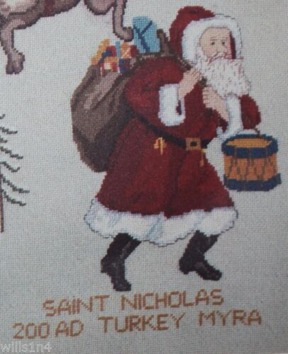 Limited Edition Print Needlepoint Santa Claus Changes Christmas Kennebunk ME