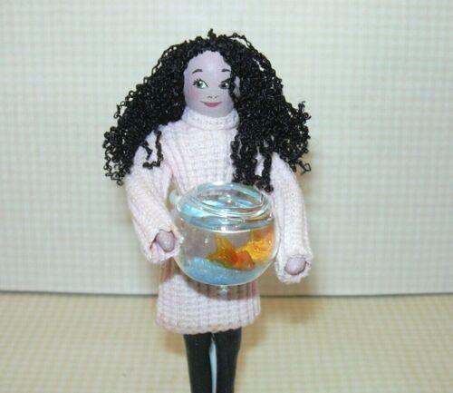 DOLLHOUSE 1:12 Miniature A+ Lilac Fern Goldfish Bowl w//2 Fish BLUE Gravel