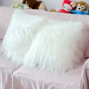 White Fluffy Faux Fur Pillow Case Cover Plush Throw Cushion Cover