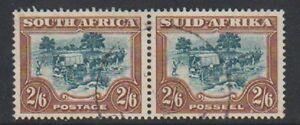 South-Africa-1949-2s6d-Green-amp-Brown-Horizontal-Pair-F-U-SG-121