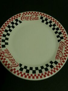 Image is loading Coca-Cola-Red-Black-&-White-Checkered-dinnerware- & Coca-Cola Red Black u0026 White Checkered dinnerware by Gibson | eBay