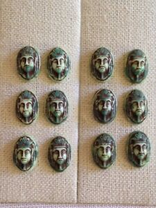 12-Vintage-Egyptian-PHARAOH-Green-Brown-Cameo-GLASS-CABOCHONS-LOT-Beads-16x11mm