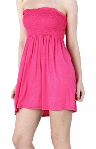 New Ladies Bandeau Boobtube Mini Dress Summer Gather Sheering Flared Top 8-26