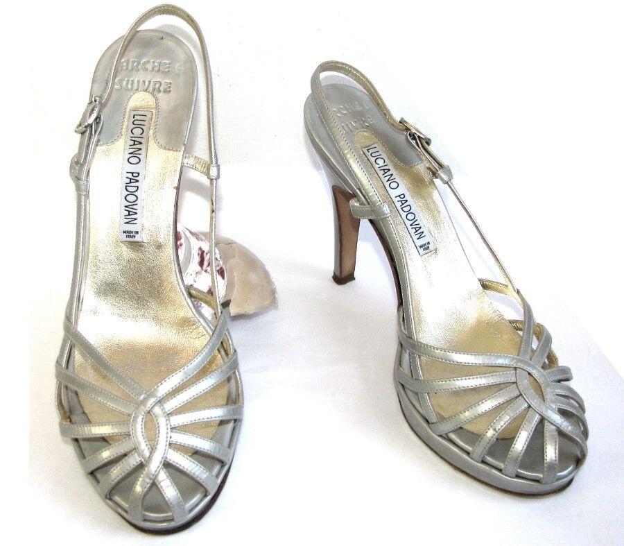LUCIANO PADOVAN Sandals tallone tutte  le pelli argentoate grigio 36.5  prezzi bassissimi