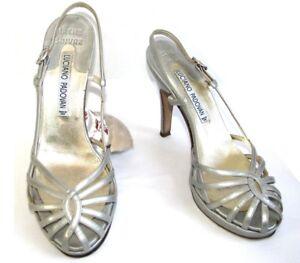 LUCIANO-PADOVAN-Sandales-talons-tout-cuir-verni-gris-argent-36-5-TRES-BON-ETAT