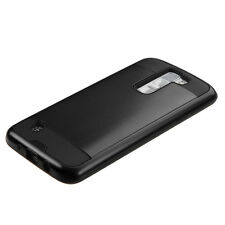 For LG K8 K350 Rugged Hybrid Brush Rubber Shockproof Hard Case Slim Cover BLACK