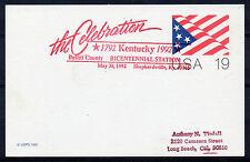 1992 Kentucky Bicentennial cancel. 19c Card. `Bullitt County, Shepherdsville`.