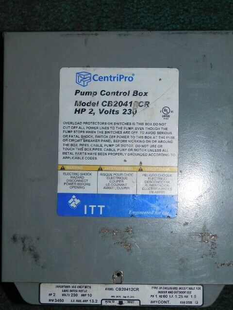 GOULDS CentriPro 2HP CONTROL BOX FOR SUBMERSIBLE WATER WELL PUMP CB20412CR