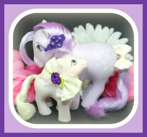 My-Little-Pony-MLP-G1-Vtg-MOMMY-amp-BABY-Mom-Blossom-Purple-Flowers-Family