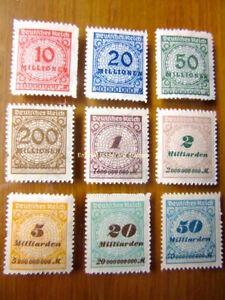 EBS-Germany-1923-Inflation-Numeral-in-Rosette-I-Michel-318B-330B-MNH-cv-40