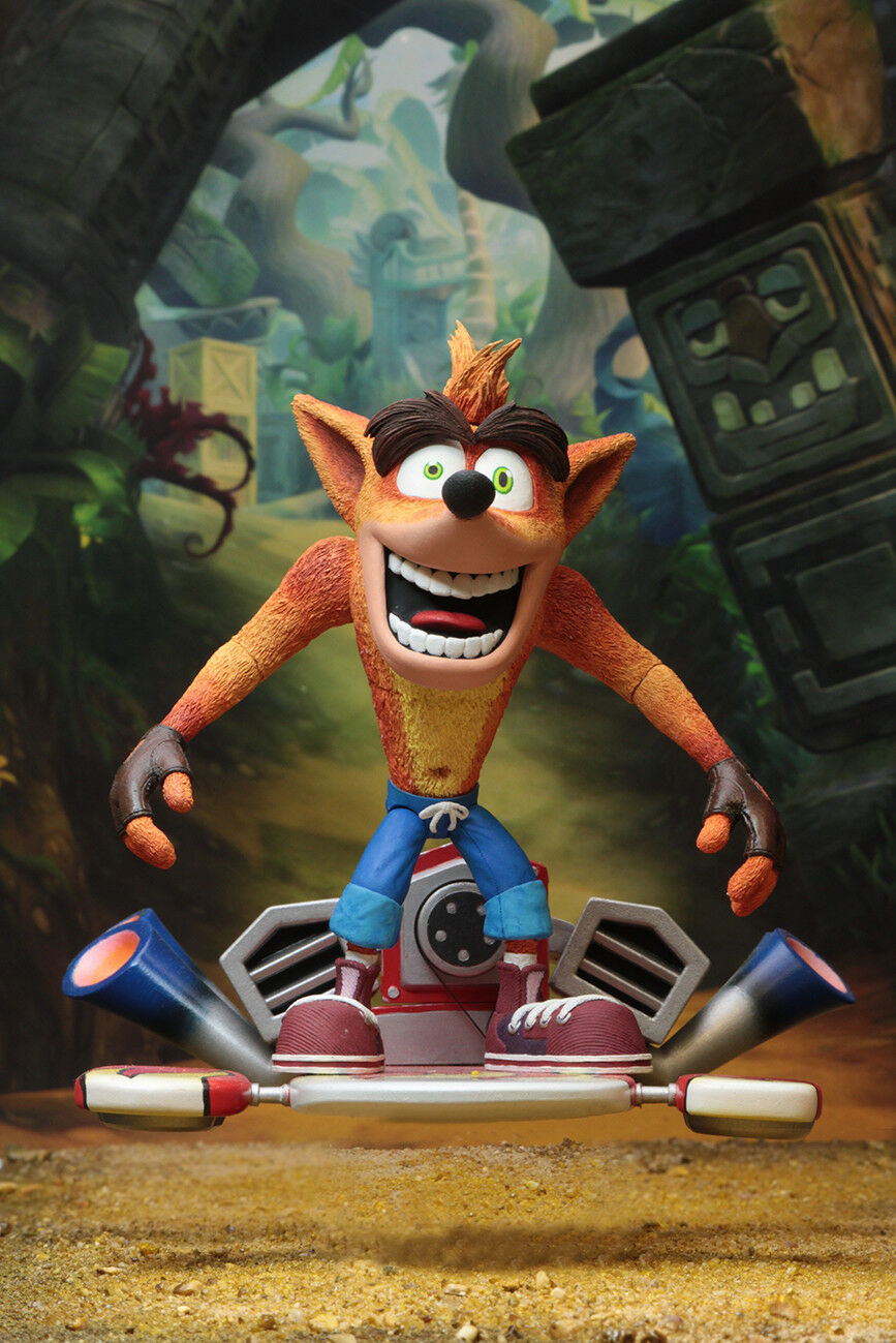 Crash Bandicoot with Jet Jet Jet Board NECA Deluxe Action Figure Hoverboard 60dc7f