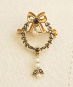 Vintage-German-Gilded-835-SILVER-Pearls-Dangle-Brooch
