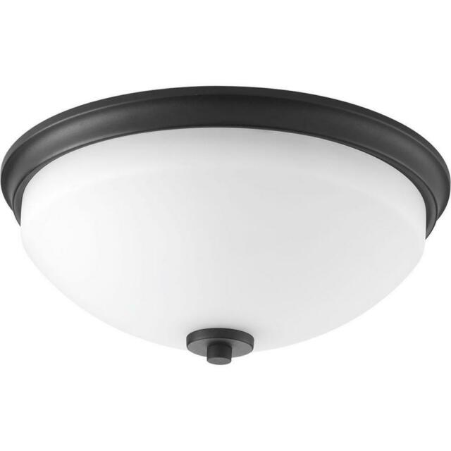 Progress Lighting Replay 2-Light Black Flush Mount with Etched White Glass