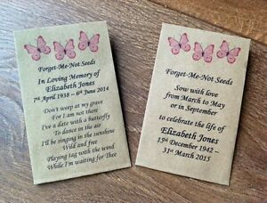 Image Is Loading 10 Personalised Forget Me Not Seed Favours Funeral
