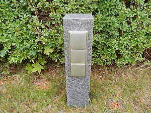gartensteckdose granit stein stele doppelsteckdose steckdosens ule basalts ule ebay. Black Bedroom Furniture Sets. Home Design Ideas