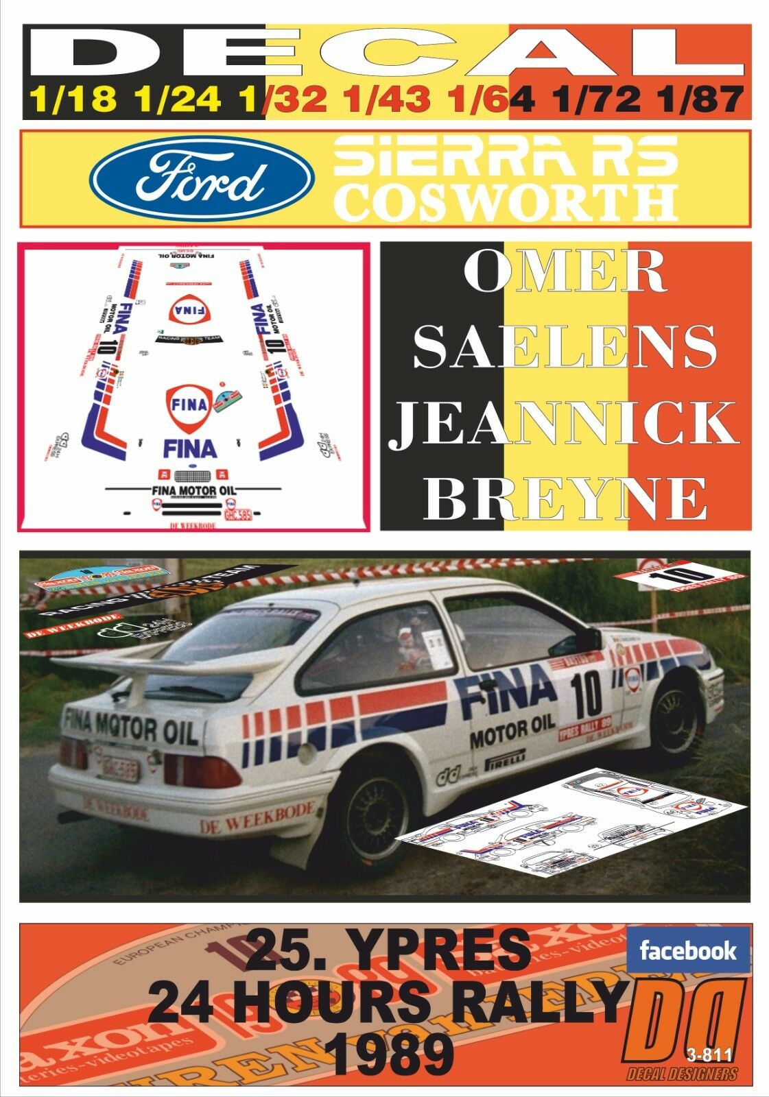 DECAL FORD SIERRA RS COSWORTH O.SAELENS YPRES 24 HOURS R. 1989 10th (09)
