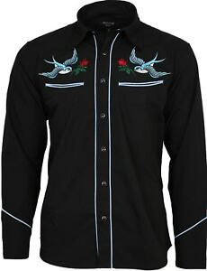 Relco Exclusive Tattoo Rockabilly Western Cowboy Swallow Rose Embroidered Shirt