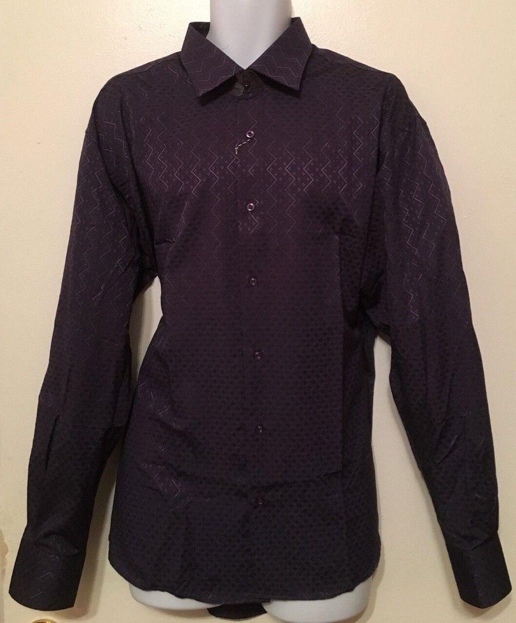 MARCELLO SPORT MEN DARK PURPLE DRESS SHIRT, SIZE L, XL.