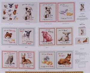 Elizabeth-039-s-Studio-Farm-Animals-Who-says-Woof-100-cotton-Fabric-panel-35-034-x-43-034