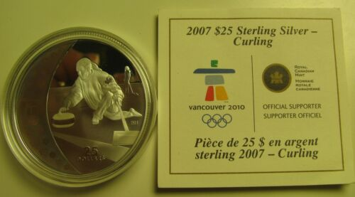 2007 Proof $25 2010 Vancouver Olympics #1-Curling Canada COIN/&COA ONLY .925 silv