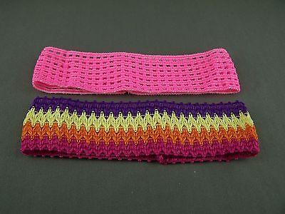 Pink Multi 2 pack crochet headband soft Stretch kids girls childrens no metal