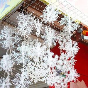30PCS-Christmas-White-Snowflakes-Decorations-Xmas-Tree-Party-Ornaments-UK