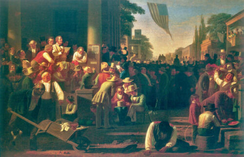 "1854 16/""x24/"" Canvas Art Poster The Verdict of the People George Caleb Bingham"