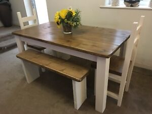 Hand Crafted Rustic Farmhouse Dining Table 2 Chairs And 2 Benches Ebay