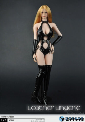 """ZYTOYS ZY5009 Black Leather Lingerie Long Hollow Boots 1//6 Sets Fit 12/"""" Figures"""